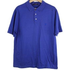 Authentic LV Louis Vuitton Polo Shirt Blue Logo XL